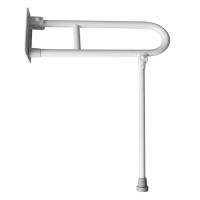 Klappgriff am WC o. Waschbecken mit Stützbein weiß (mit Abdeckrosetten) fi32  60 cm