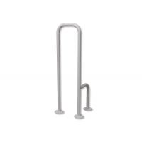 WC - Stützgriff zur Bodenmontage für Senioren weiß fi25 links montiert
