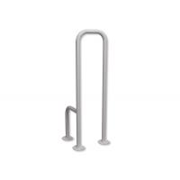 WC - Stützgriff zur Bodenmontage für Senioren weiß fi25 rechts montiert