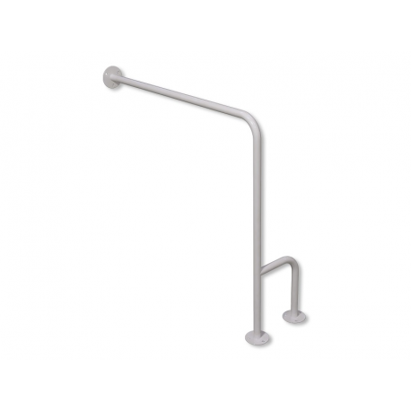 WC-Stützgriff zur Wand-Boden-Montage weiß fi25 80cm/75cm links montiert