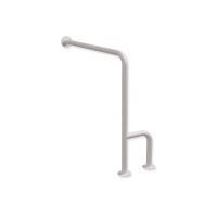 WC - Stützgriff für Senioren zur Wand - Boden - Montage weiß fi32 80/80 cm links montiert