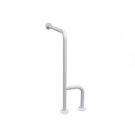 WC-Stützgriff zur Wand-Boden-Montage weiß (mit Abdeckrosetten) fi32 70cm links montiert