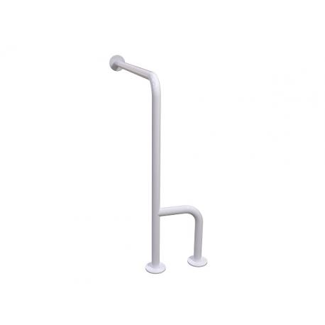 WC-Stützgriff zur Wand-Boden-Montage weiß (mit Abdeckrosetten) fi32 80cm/75cm links montiert