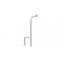 WC-Stützgriff zur Wand-Boden-Montage weiß (mit Abdeckrosetten) fi32 80cm/75cm rechts montiert