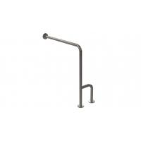 WC-Stützgriff zur Wand-Boden-Montage Edelstahl (mit Abdeckrosetten) fi32 80cm/75cm links montiert
